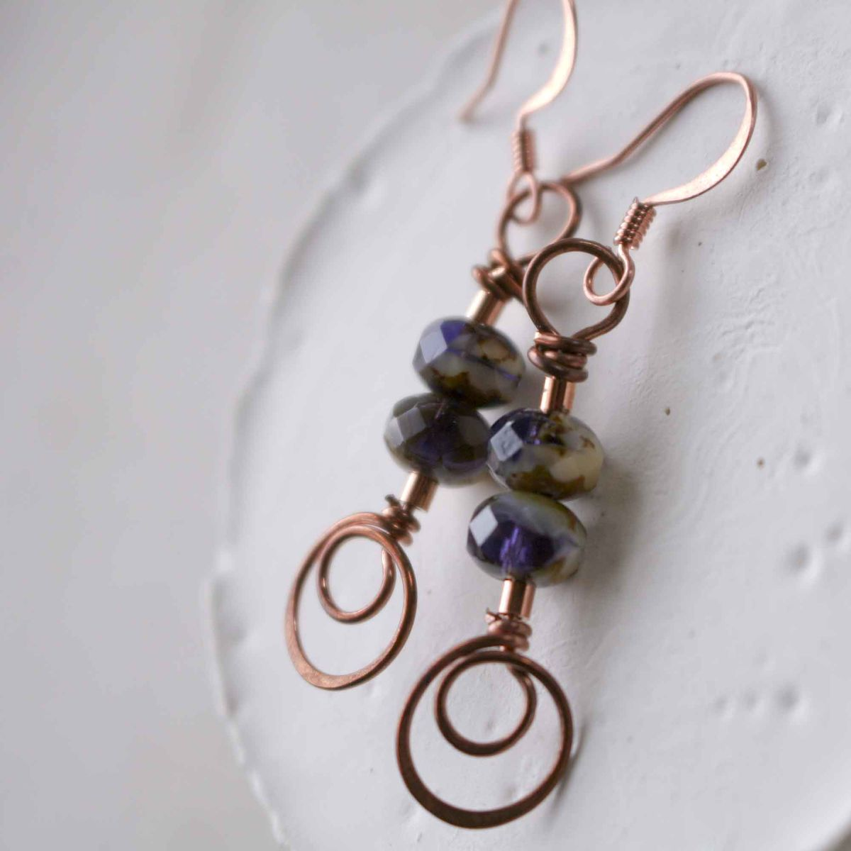 Copper Swirl and Dark Purple with Cream Glass Bead Earrings - product image