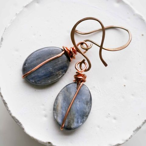 Kyanite,and,Copper,Earrings,kyanite, jewelry, blue jewelry