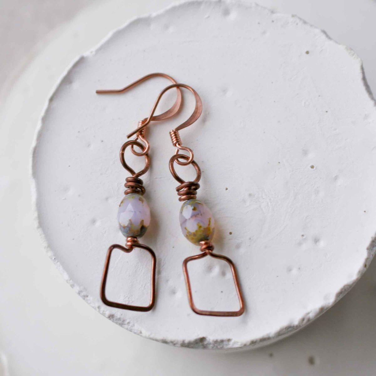Square Copper and Milky Pink/Lilac Glass Dangle Drop Bead Earrings  - product image
