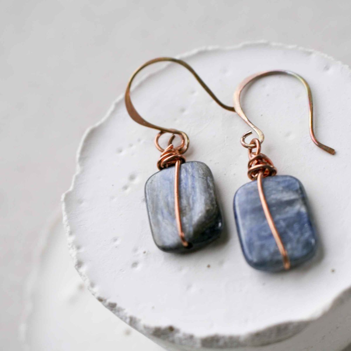 Rectangular Icy Blue Kyanite Dangle Earrings with Copper Forged Earwires - product image