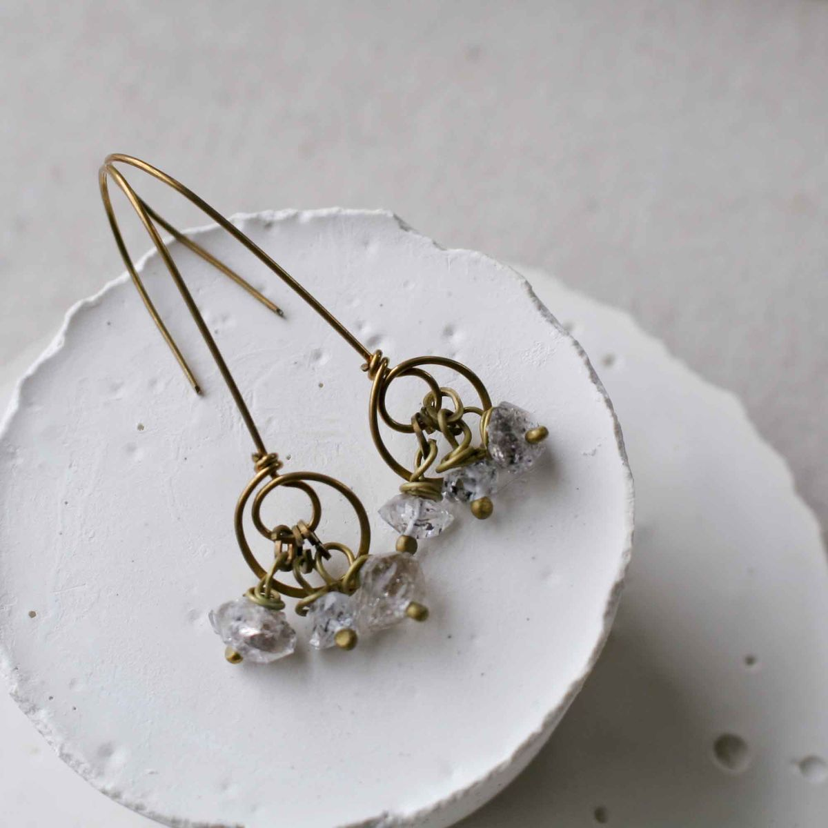 Nu Gold and Herkimer Double Swirl Earrings - product images  of