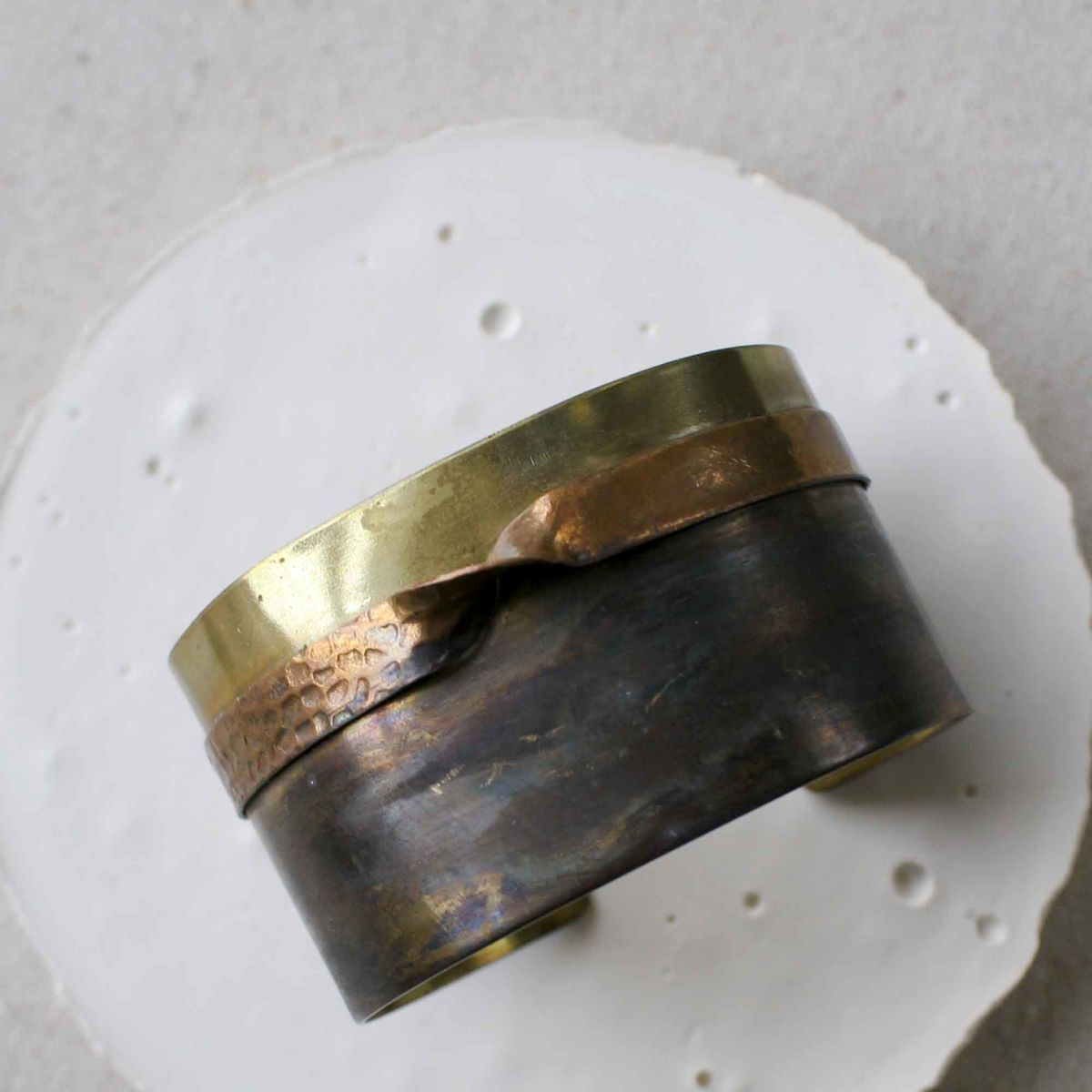 Brass and Copper Cuff Bracelet with Dark Patina - product image