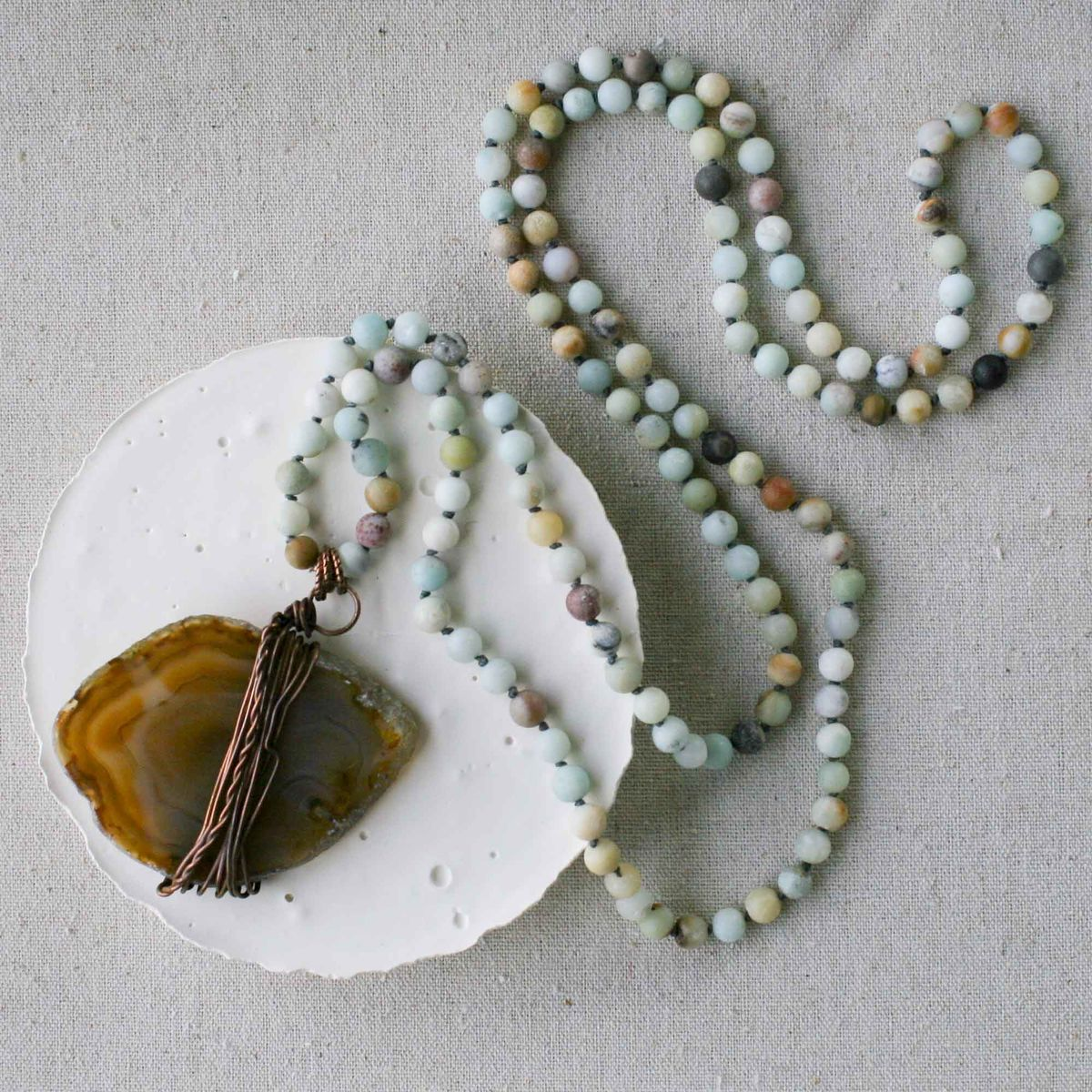 Brown Agate Slice on Matte Amazonite Beaded Long Beaded Cord - product image