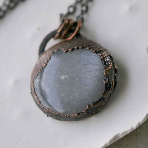 Smooth,Polished,Moonstone,Pendant,on,Dark,Electroformed,Copper,herkimer, necklace, copper necklace, artisan made jewelry