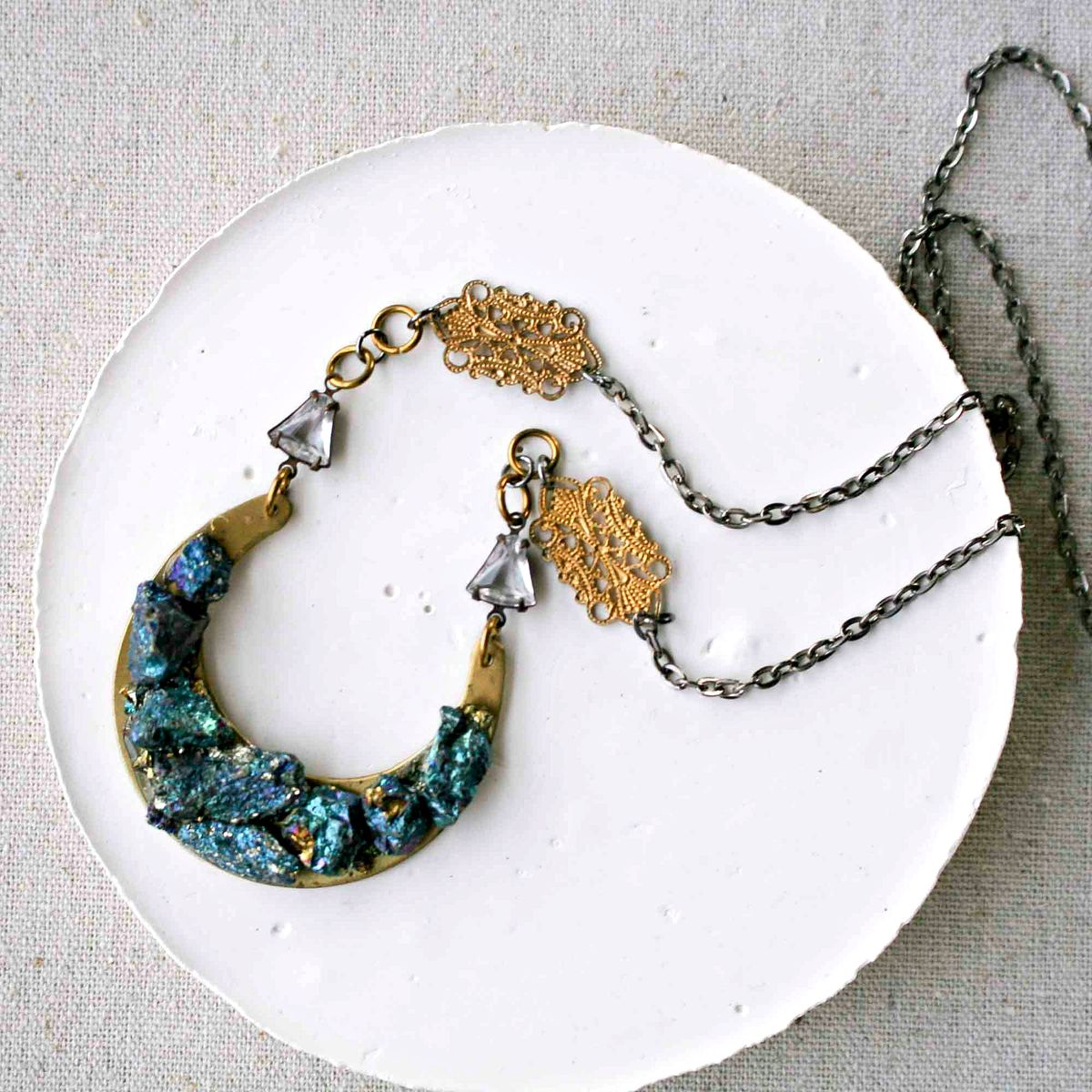 Peacock Ore Stones on a Brass Crescent Pendant Necklace - product image