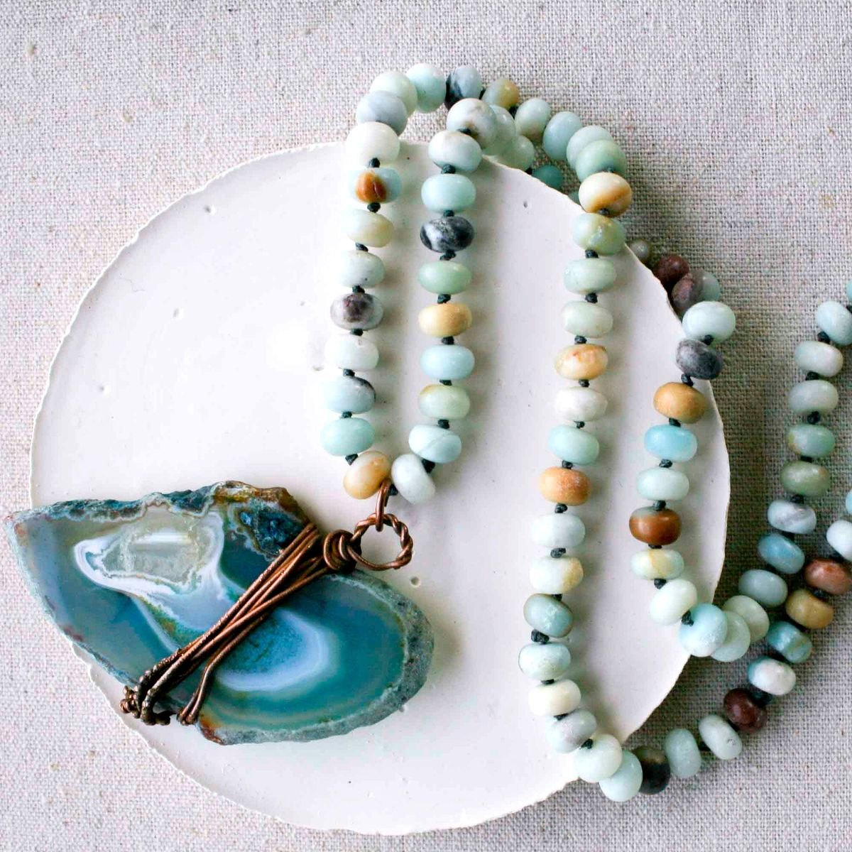 Teal Blue Agate Slice on Matte Amazonite Beaded Long Cord - product image