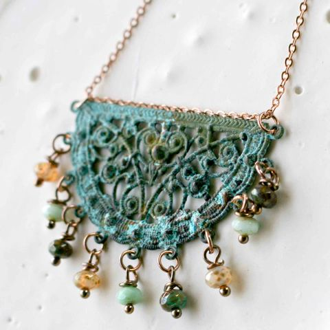 Blue,Green,Patina,Filigree,Necklace,with,Czech,Glass,Beads,bones, tv show, patina necklace, filigree, rustic necklace