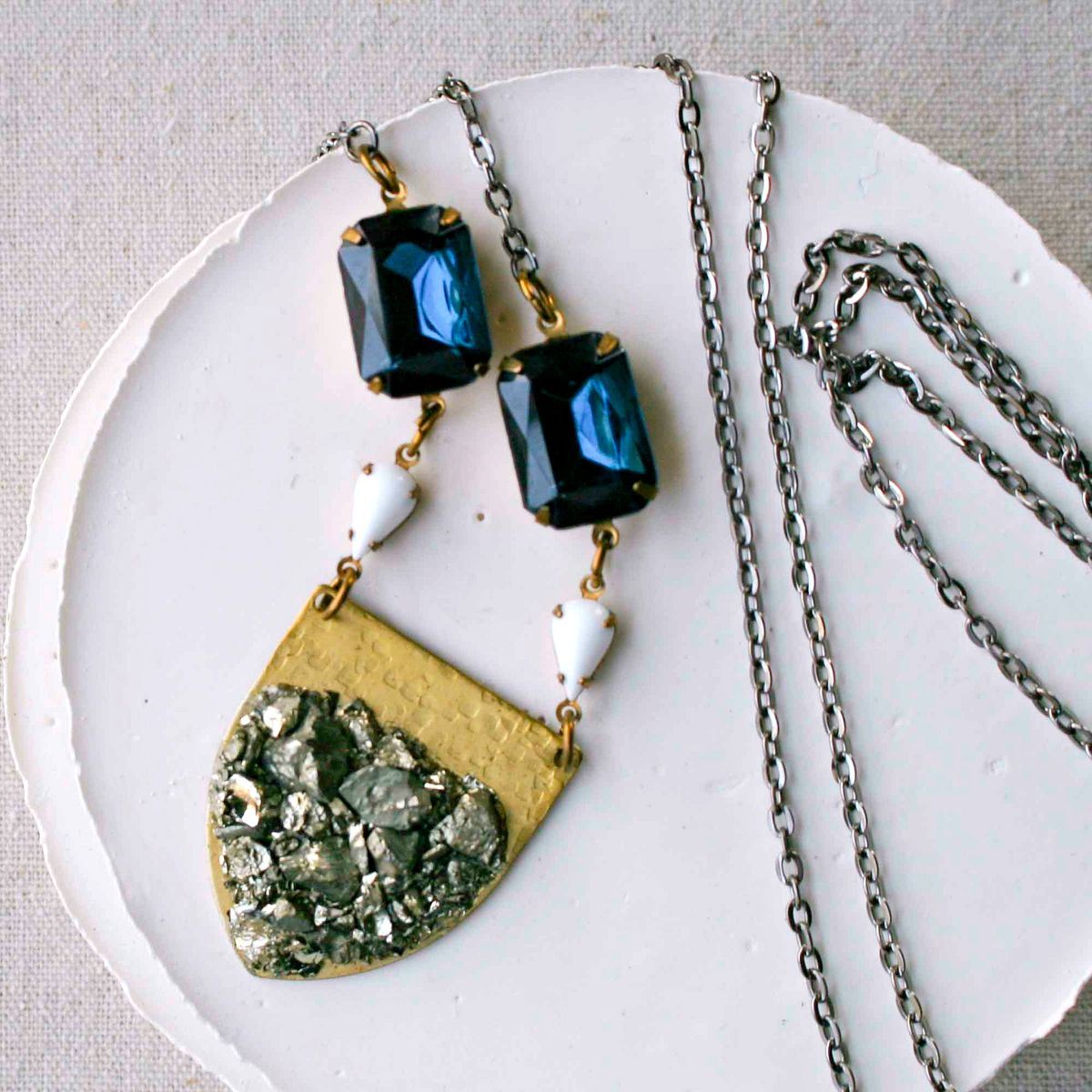 Sapphire Blue and White Vintage Glass Stones with Brass Pyrite Shield Pendant Necklace - product images  of
