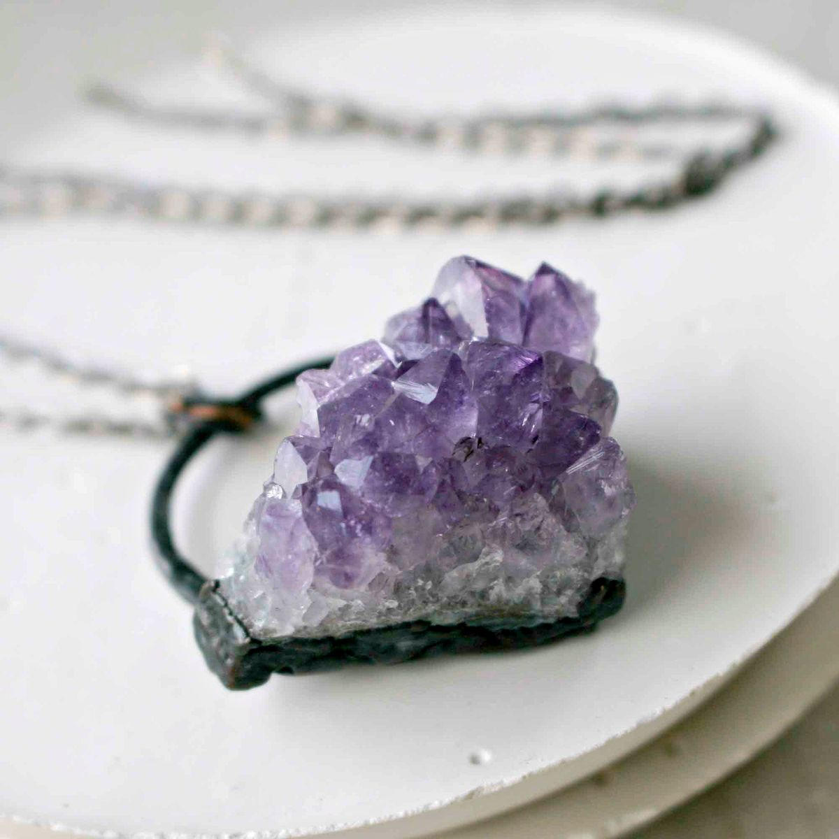 Purple Amethyst Crystal Cluster Pendant Necklace - product image