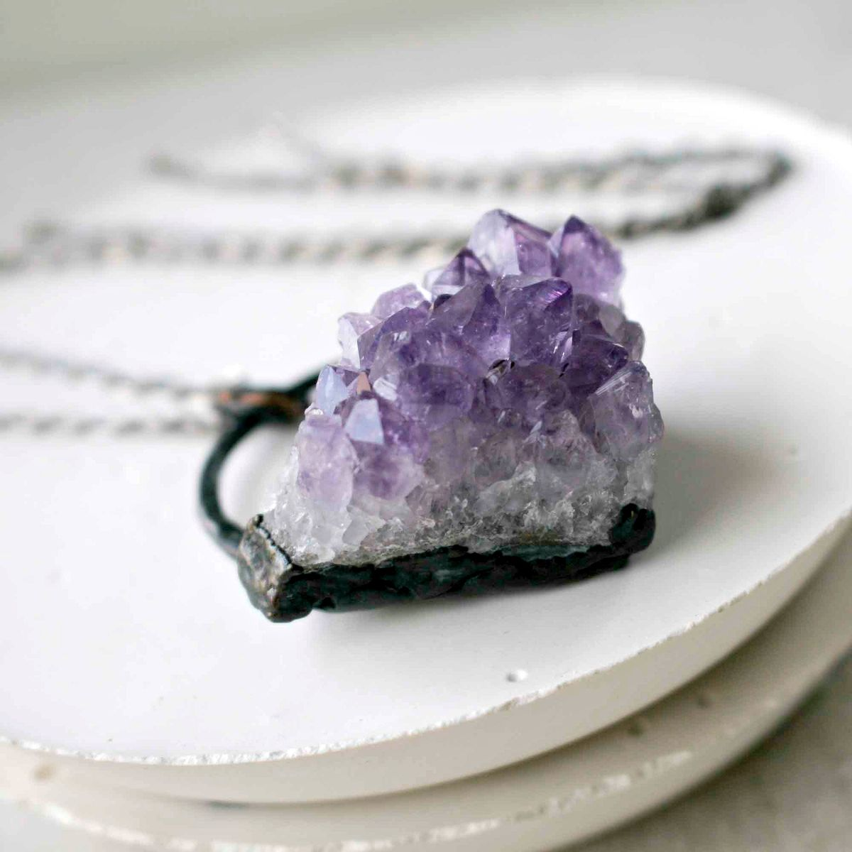 Purple Amethyst Crystal Cluster Pendant Necklace - product images  of
