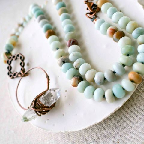 Amazonite,and,Crystal,Quartz,Necklace,healing crystal, crystal jewelry, citrine jewelry, yellow crystal, boho festival jewlery, copper jewelry, copper electroformed jewelry, boho jewelry
