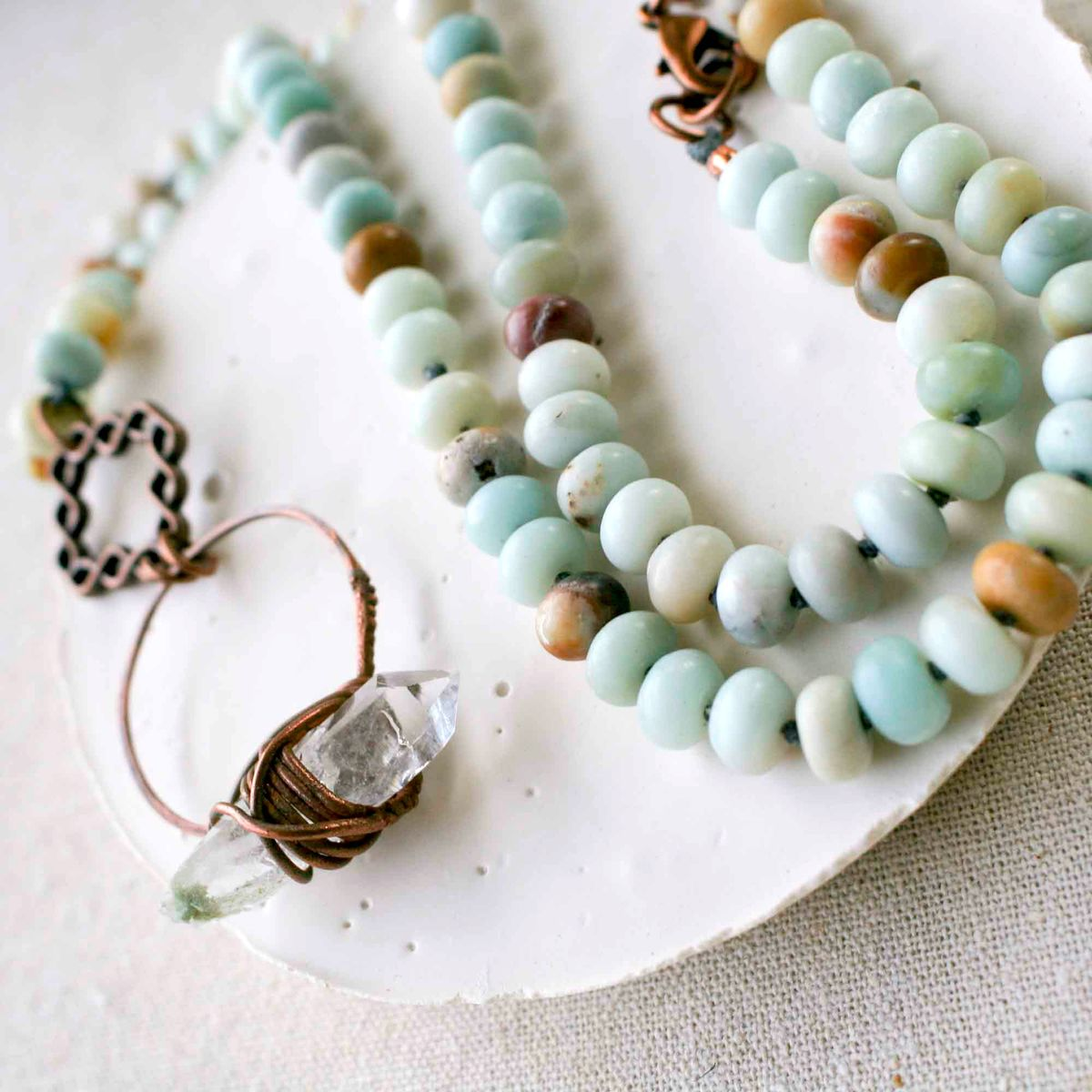 Amazonite and Crystal Quartz Necklace - product image