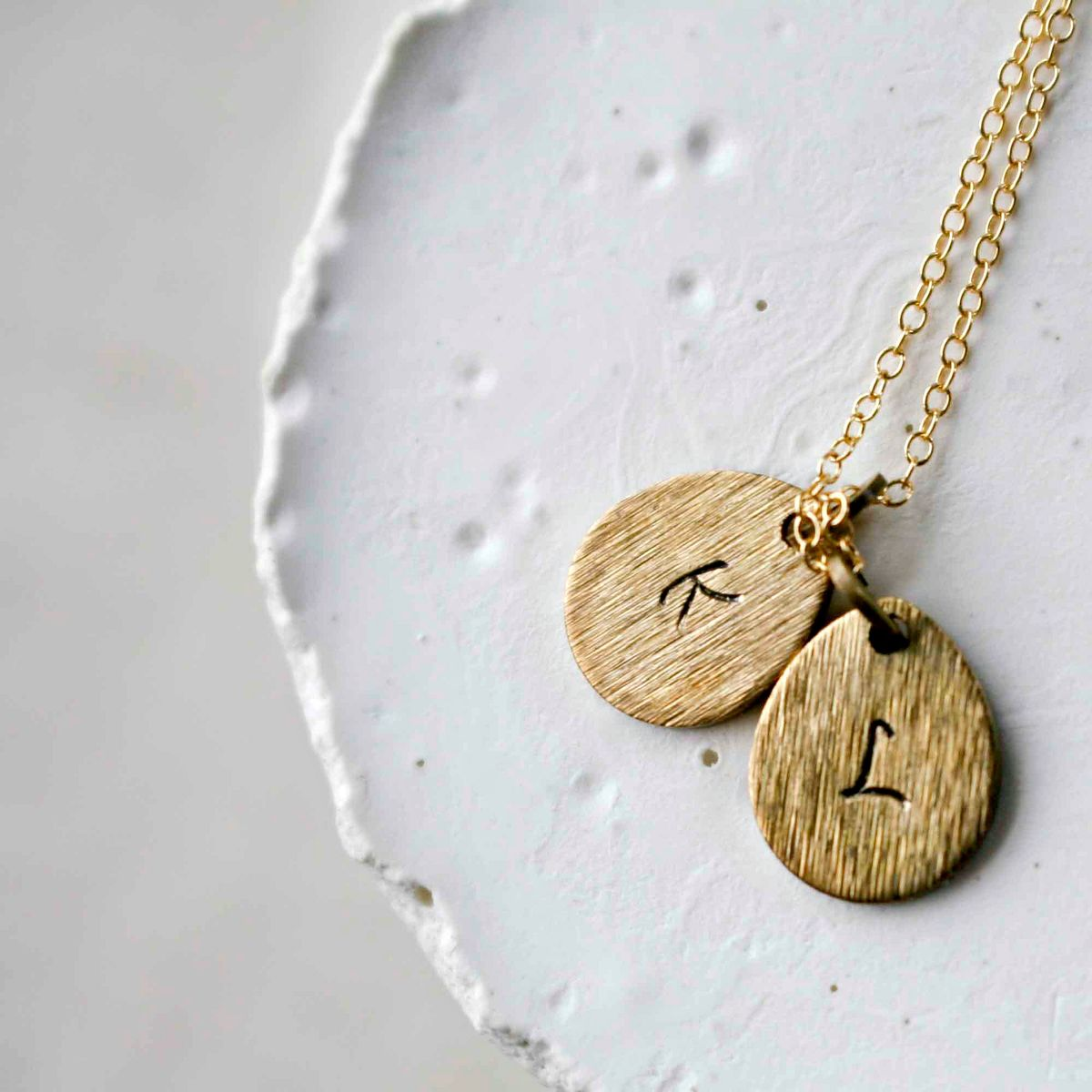Double Initial Charm Drop Necklace - COMPLETE ALPHABET IS AVAILABLE - product images  of