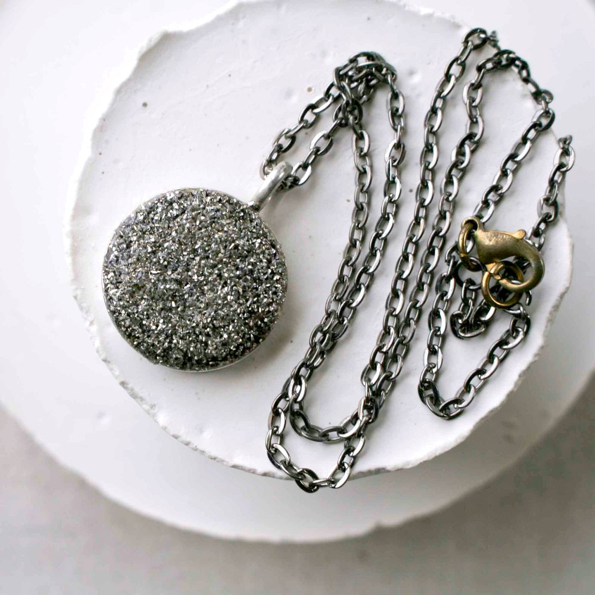 Rustic and Round Silver Glass Glitter and Pyrite Charm Pendant Necklace - product image