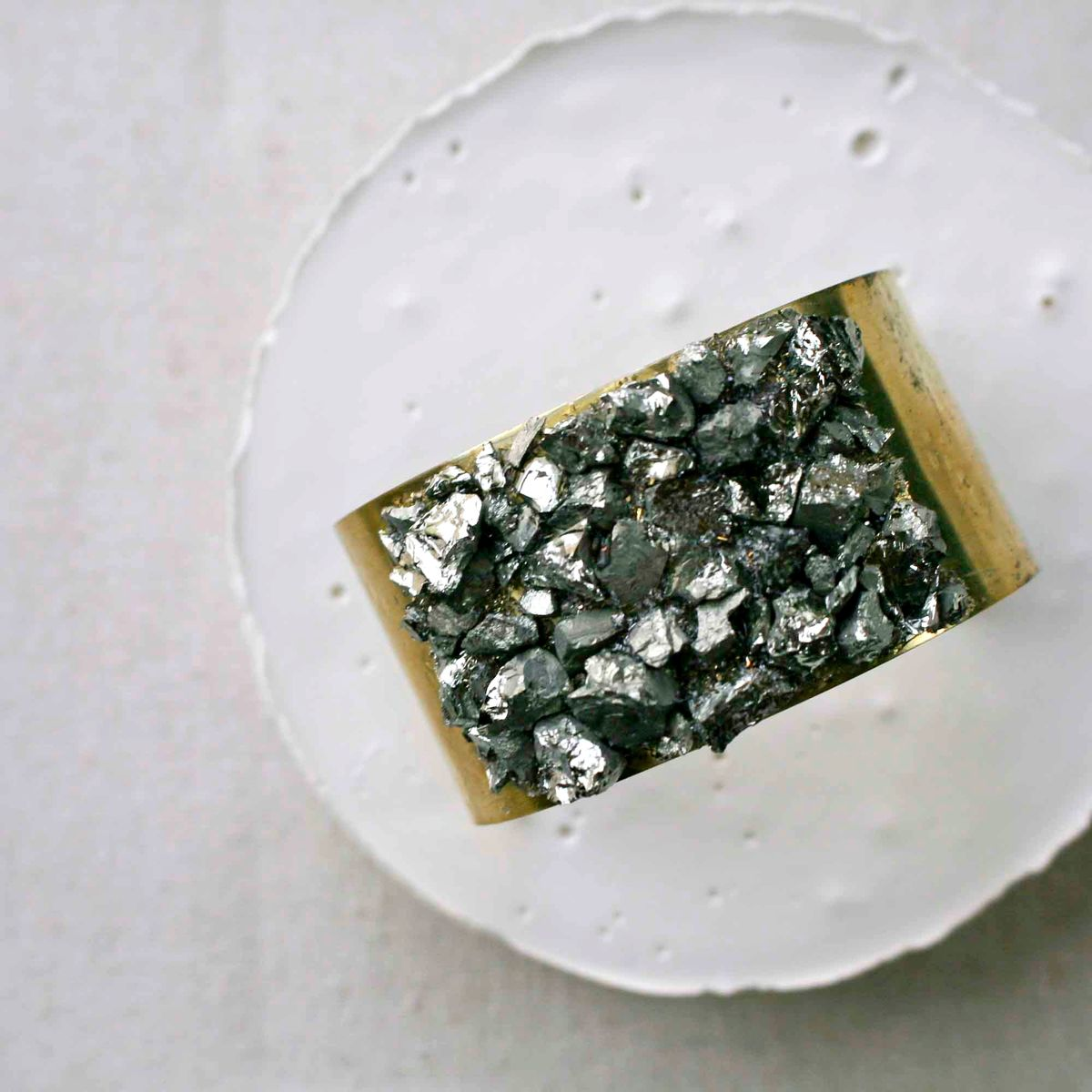 Wide Pyrite Cuff Bracelet - product image