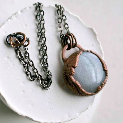 Smooth,Polished,Moonstone,Copper,Electroformed,herkimer, necklace, copper necklace, artisan made jewelry