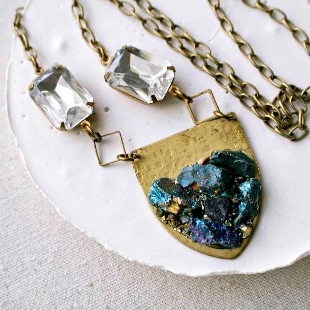 Crushed Peacock Ore and Brass Shield Pendant Necklace - product image