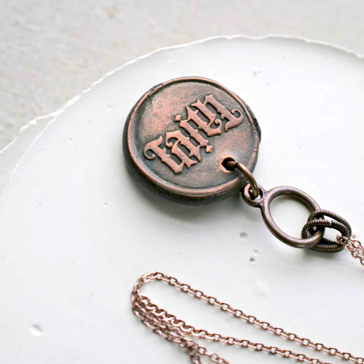 Word FAITH Copper Charm Necklace - product image