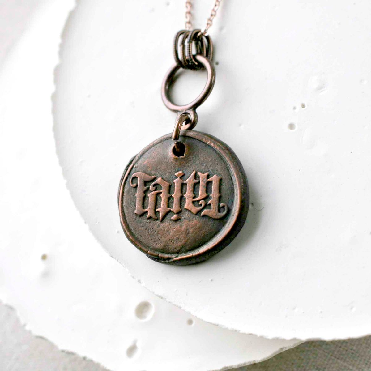 Word FAITH Copper Charm Necklace - product images  of