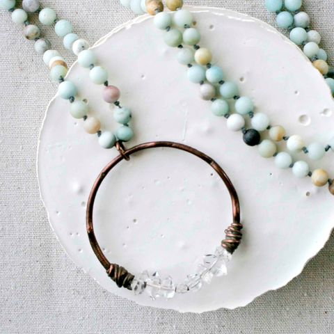 Long,Amazonite,and,Herkimer,Quartz,Necklace,beaded necklace, long beaded necklace, amazonite necklace, knotted necklace, diamond necklace, quartz necklace, crystal quartz necklace