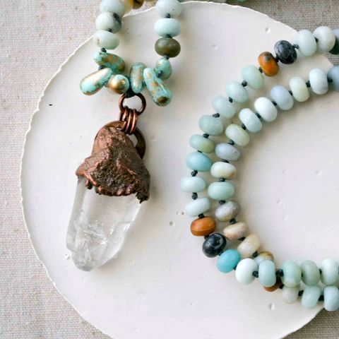Solid,Copper,Electroformed,Crystal,Point,on,Cord,with,Amazonite,Stones,and,Glass,Beads