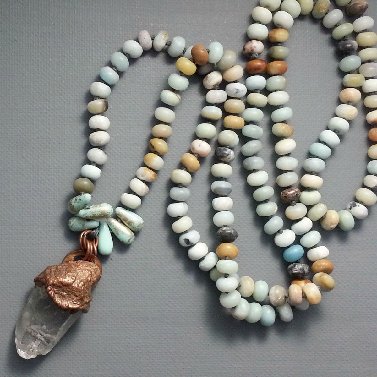 Solid Copper Electroformed Crystal Point on Cord with Amazonite Stones and Glass Beads - product image