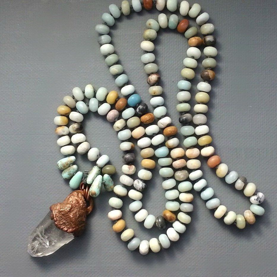 Solid Copper Electroformed Crystal Point on Cord with Amazonite Stones and Glass Beads - product images  of
