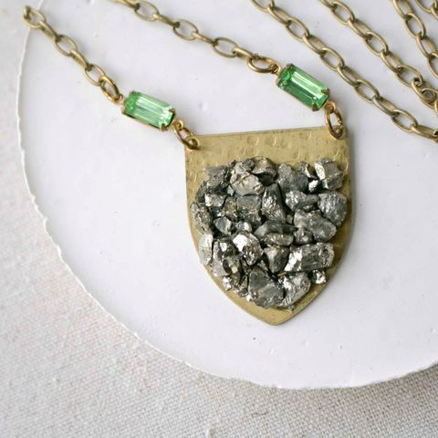 Pyrite,and,Brass,Shield,Pendant,Necklace,pyrite, pyrite jewelry, fools gold, layering necklace, gift for mom