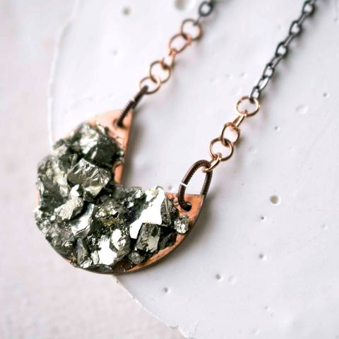 Crushed,Pyrite,and,Copper,Pendant,Necklace,pyrite necklace, pyrite jewelry, crushed gemstone