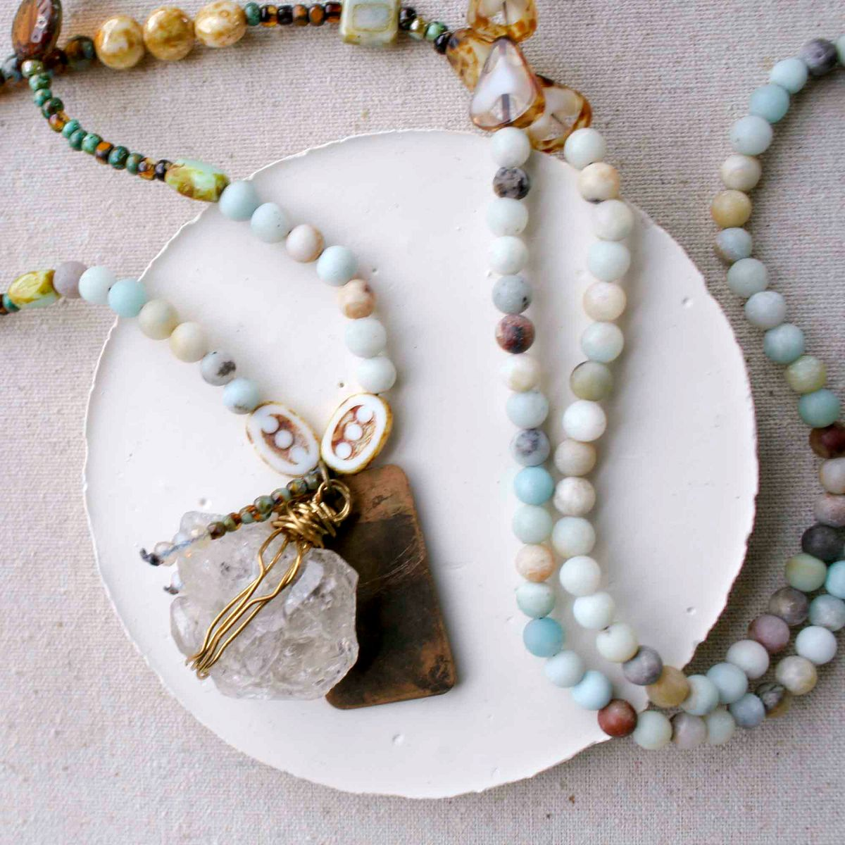 Long Beaded Necklace with Quartz Stone - product image
