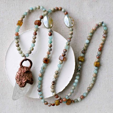 Raw,Crystal,Point,Pendant,on,Cord,with,Amazonite,Stones,and,Glass,Beads