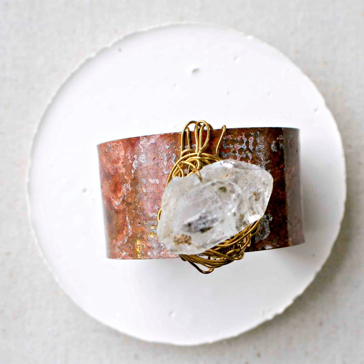 Wide Brass and Crystal Quartz Patina Cuff Bracelet - product images  of