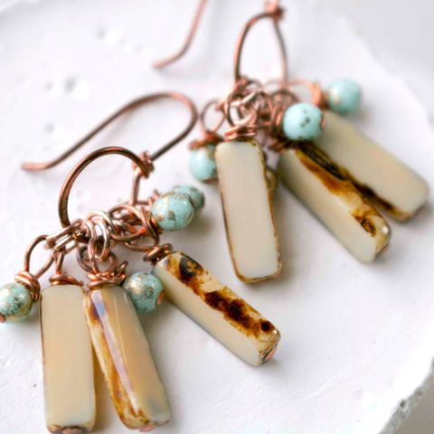 Copper,Earrings,with,Aqua,and,Brown,Czech,Glass,Beads,lilac, blue, purple