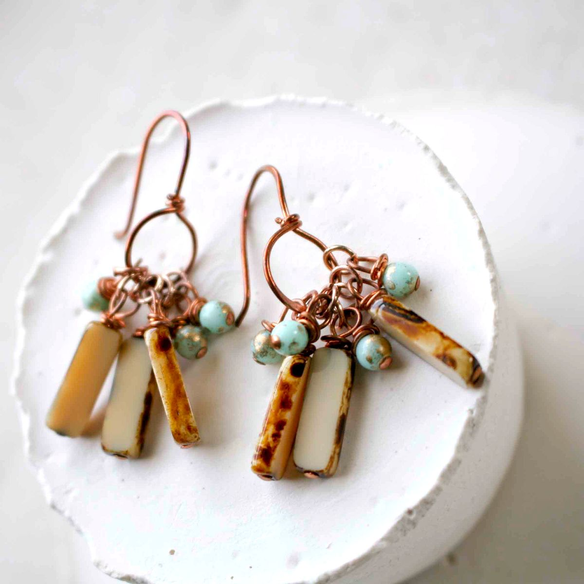 Copper Earrings with Aqua and Brown Czech Glass Beads - product images  of