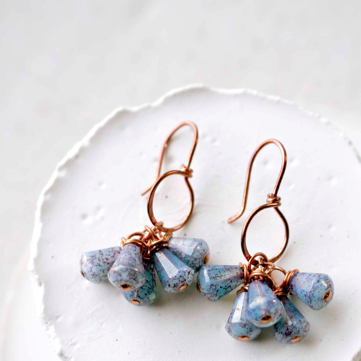 Copper Open Circle Hoop Earrings with Blue Purple Mottled Czech Glass Bead Dangles  - product images  of