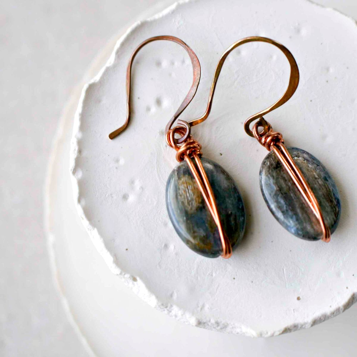 Icy Blue Kyanite Dangle Earrings with Copper Forged Earwires - product image