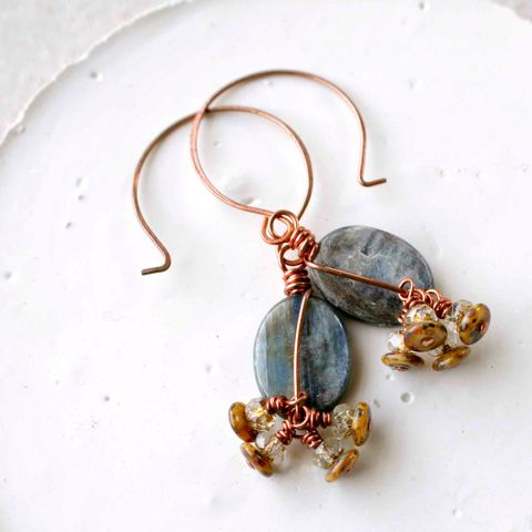 Blue,Brown,Kyanite,Drop,Copper,Wire,Wrapped,Earrings,with,Multi,Color,Texture,Czech,Glass,Bead,lilac, blue, purple, blue earrings, kyanite, crystal earrings, drop earrings