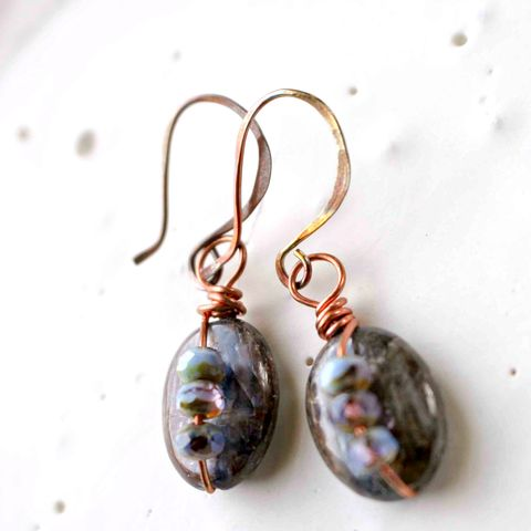 Blue,Brown,Kyanite,Drop,Copper,Wire,Wrapped,Earrings,lilac, blue, purple