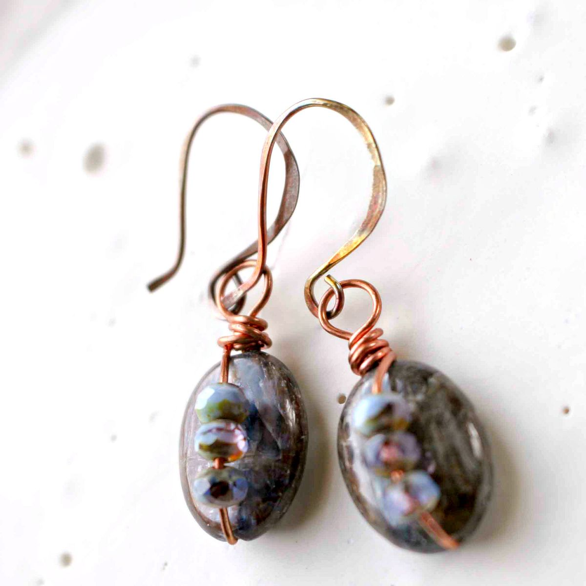 Blue Brown Kyanite Drop Copper Wire Wrapped Earrings  - product image