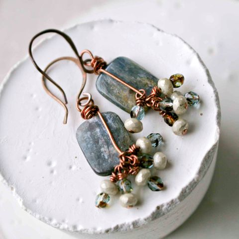 Rectangular,Icy,Blue,Kyanite,Dangle,Earrings,with,Copper,Forged,Earwires,and,Glass,Beads,kyanite, jewelry, blue jewelry