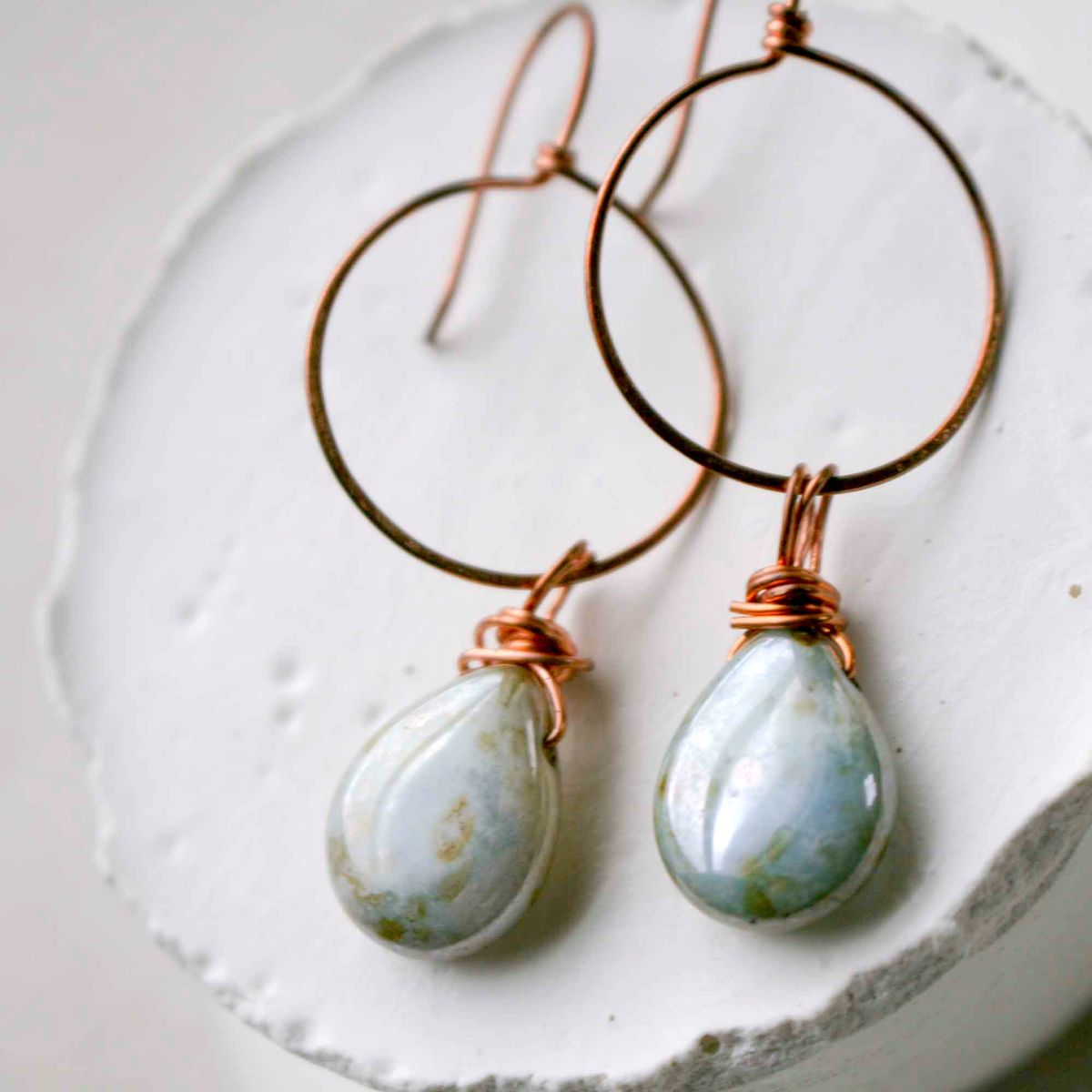 Round Copper Hoop Earring with Tear Drop Glass Beads - product images  of