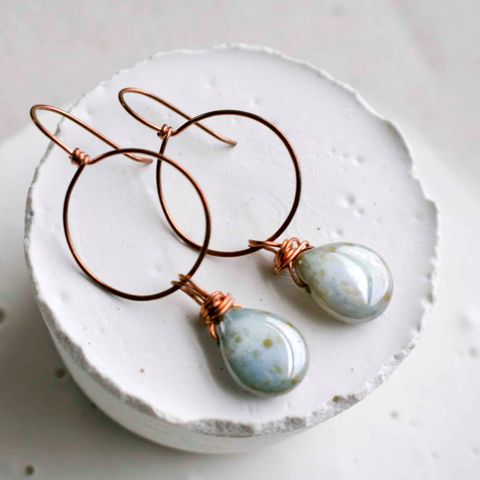 Round,Copper,Hoop,Earring,with,Tear,Drop,Glass,Beads,lilac, blue, purple