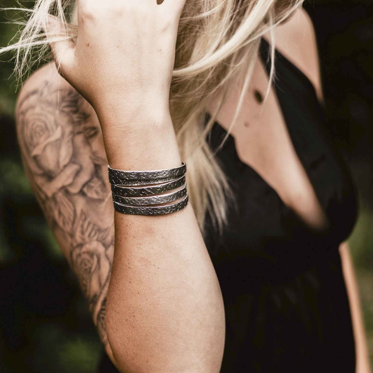 Hidden Message Stamped Stacking Cuff Bracelets - product images  of