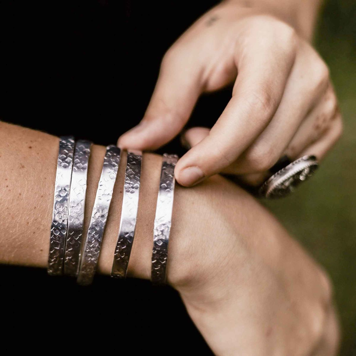 Silver Aluminum Hammer Textured Stacking Cuff Bracelet Set - product images  of