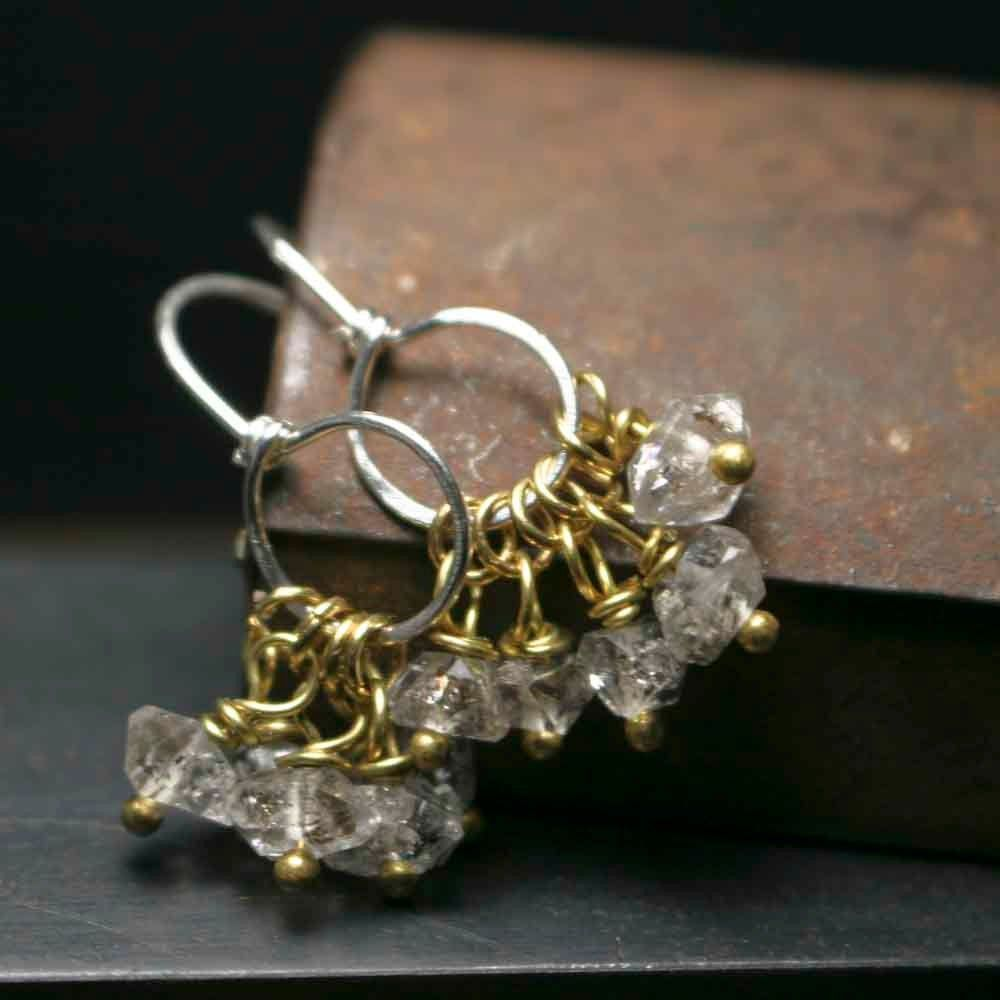 Small Sterling Silver and Herkimer Dangle Earrings - product images  of