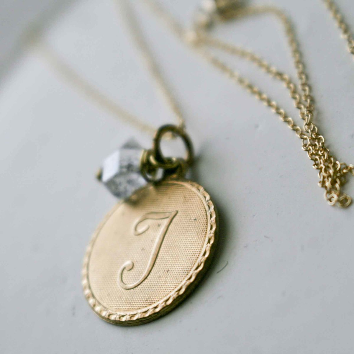 Uppercase Cursive Initial Monogram Letter Round Disc Charm Necklace - COMPLETE ALPHABET IS AVAILABLE - product image