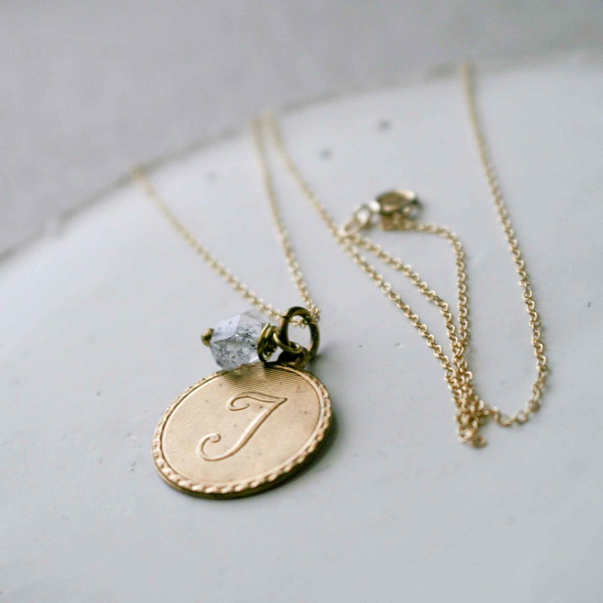 Uppercase Cursive Initial Monogram Letter Round Disc Charm Necklace - COMPLETE ALPHABET IS AVAILABLE - product images  of