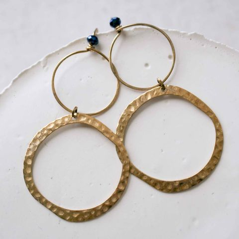 Modern,Round,Brass,Earrings,with,Blue,Beads,costume designer, costume department, stylist, square, modern, minimalist, geometric necklace, layering necklace, dainty necklace, square jewelry, brass necklace, tiny gold necklace, pendant, square necklace