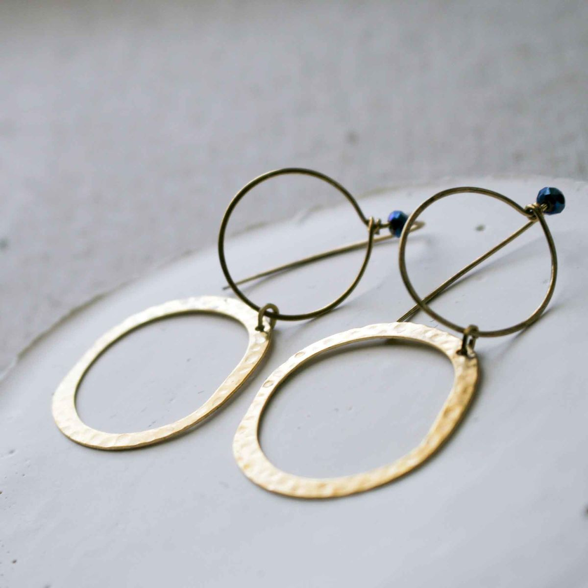 Modern Round Brass Earrings with Blue Beads - product images  of