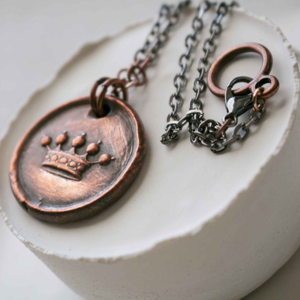 Antique Heraldic Crown of Nobility Vintage Wax Seal Charm Wax Seal Pendant Necklace - product images  of